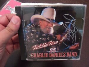 CHARLIE DANIELS BAND FIDDLE FIRE 25 YEARS OF CD HAND SIGNED  COA