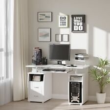 More details for homcom computer office desk table workstation w/  keyboard tray, drawer, white