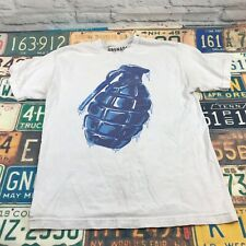 Grenade T Shirt Cotton White Blue Bomb Men's Medium S/S