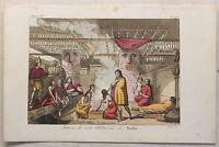 Amerika Kanada Nootka Trachten Kupferstich um 1825 Sasso handkoloriert Grafik