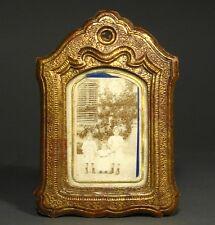Antique French Photo Frame Gilded Papier Mâché, Sepia Photo with Children, Poem