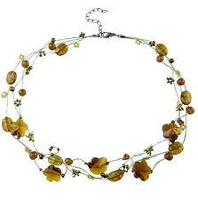 Collier femme Ras De Cou Fils Dorés Papillons Perles tons jaune doré libellules