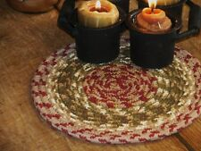 "PRIM 8 "" FOLK ART BRAIDED CANDLE MAT/ TRIVET C-24"