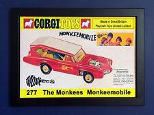 Corgi Toys 277 Monkees Monkeemobile Vintage 1968 A4 Size Framed Poster Shop Sign