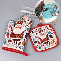 2Pcs/Set Christmas Baking Anti-Hot Mittens With Pad BBQ Kitchen Mat Party Decor