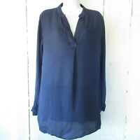 Cloth & Stone Tunic Top M Medium Navy Blue Long Sleeve V Neck Anthropologie