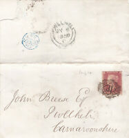 1858 QV MORTGAGE LETTER WITH A 1d RED STAMP SENT TO PWLLHELI CARNARVON WALES