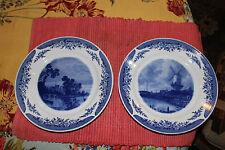 Lovely Kahla Germany Blue & White Nautical Windmill Plates-Pair-GDR-LQQK