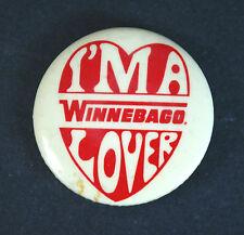 Winnebago pin back button I'm a Winnebago Lover Vintage Heart Logo