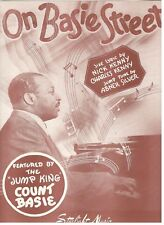 """COUNT BASIE """"ON BASIE STREET"""" SHEET MUSIC-1945-JUMP KING-RARE-NEW-MINT CONDITION"""