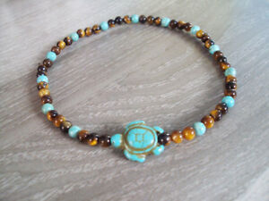 Tigereye and turquoise anklets,stone anklets,men and women anklets,turtle