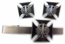 Germany German IRON CROSS WW2 Eagle Military Army TIE BAR CLIP CUFFLINKS SET
