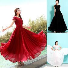Boho Maxi Women Lace Chiffon Evening Party Slim Tunic Summer Beach Long Dress 2X