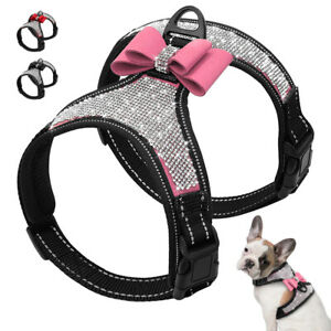 Bling Dog Harness Full Rhinestone Diamonds with Bow Tie Reflective Soft Air Mesh