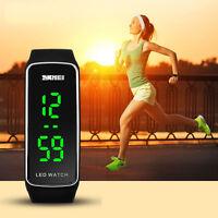 Hombre Mujer Digital Moda Sport Pulsera Táctil Silicona LED Reloj de