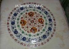 "18"" white marble table top  coffee center inlay lapis handmade decor round"