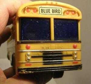 "VINTAGE 10"" BLUE BIRD SCHOOL BUS COIN BANK w/STOPPER TURNING WHEELS #330 JIMSON"