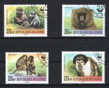 GUINEE 2000 WWF WILD ANIMALS PRIMATES MONKEYS CHIMP FAUNA STAMPS SET MNH CTO