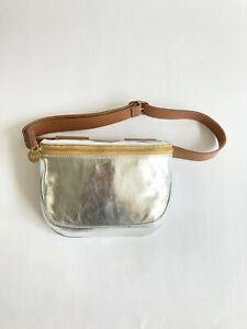 New with Tags Clare V Fannypack Silver Leather in Original Dust Bag