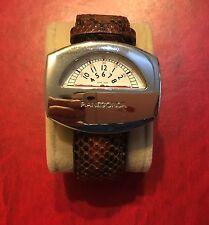 PIANEGONDA orologio No Park in argento cinturino lucertola marrone