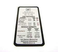 1969 Camaro Tire Pressure Decal  Standard  GM# 3961710