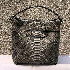 Womens Real Python Genuine Leather Snake Skin Tote Bag Shopper Bucket Bag Grey