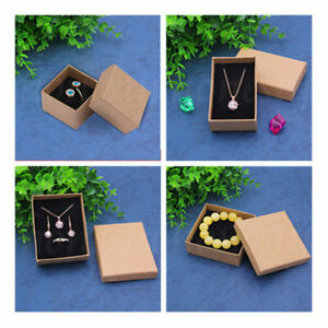 2/5PCS Retro Kraft Paper Ring Necklace Earring Bracelet Jewelry Gift Box 4 Sizes