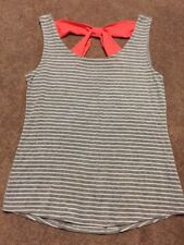 Womens Bella D Gray White Striped Coral Bow Shirt Top Size Large
