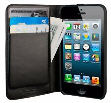 HEX Icon Wallet Leather Flip Case w/ID Card Slots for iPhone SE iPhone 5S Black