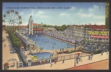 USA. Coney Island, New York. Steeplechase Park. Swimming Pool. Linen Effect Card