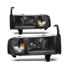 For 1994-2002 Dodge Ram 1500 2500 3500 Black Housing Clear Lens Head Lights
