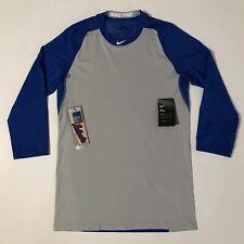 Nike Dri-Fit Men's Baseball Ls Shirt Authentic Collection Grey/Blue Sz S💰35