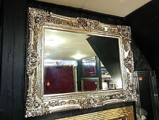 Antique Champagne Silver Ornate Vintage French Beveled Wall Mirror 117x88cm New