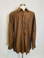 Ermengildo Zegna Mens Button Down Shirt Size Small - 42 /16.5 - Gold / Brown