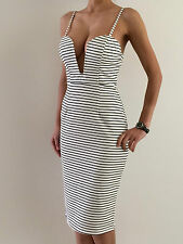 Sexy Women's Striped Bodycon Sleeveless Evening Party Midi Dress Size 10-12 NEW