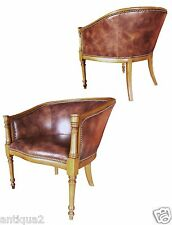 PAIR ENGLISH REGENCY STY FRUITWOOD CLUB TUB LOUNGE CHAIRS ANTIQUED BUFF LEATHER