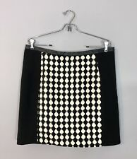 H&M NEW Straight Pencil Skirt Black Ivory Retro Circular Design 60s Fitted Sz 14