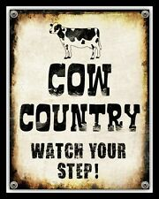 COW COUNTRY WATCH YOUR STEP CATTLE FARM MANURE FARMER METAL PLAQUE TIN SIGN 2349