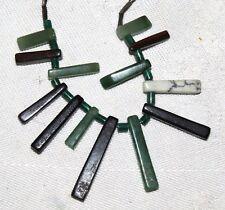 Liquid Silver & Green Black & White Quartz Beads