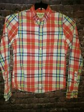 Abercrombie & Fitch Muscle Long Sleeve Button Down Red Paid Shirt XL
