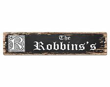 SPFN0364 The ROBBINS'S Family Name Street Chic Sign Home Decor Gift Ideas