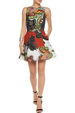 Alice + Olivia Adrianne Boat Neck Mini Flare Dress Flower Pleated Size 6 NWT