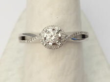 14k White Gold Halo Style Round Diamond Cathedral  Engagement Ring Skinny Petite