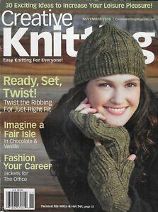 Creative Knitting Magazine Twisted Rib Mitts Hat Set Office Jackets Fair Isle