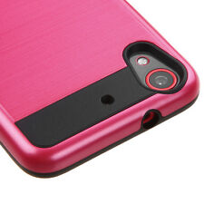HTC DESIRE 626 626S 625 650 RED BLACK BRUSHED HYBRID CASE PROTECTIVE COVER