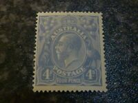 AUSTRALIA POSTAGE STAMP SG65B FOUR PENCE PALE MILKY BLUE LIGHTLY-MOUNTED MINT