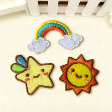 3pcs Patch Rainbow Star Sun Embroidered Sew On Iron On Badge Fabric Applique New