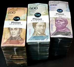 Venezuela Bolivares 2007-16 100, 500, 1,000  3 Used Bricks 3000 Pcs Rare Bricks