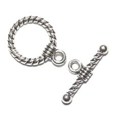 M7129p Antiqued Silver 19mm Twisted Rope Round Toggle Clasp with 20mm Bar 10pc