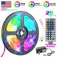 "US 5M RGB 5050 ""Waterproof"" IP65 SMD LED Strip Light Kit + 44 Key Remote + Power"
